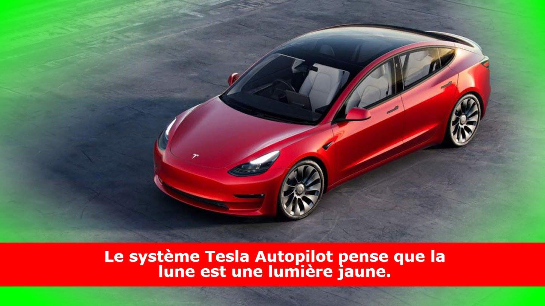 Le système Tesla Autopilot pense que la lune est une lumière jaune.