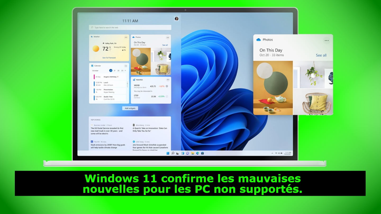 Windows 11 confirme les mauvaises nouvelles pour les PC non supportés.